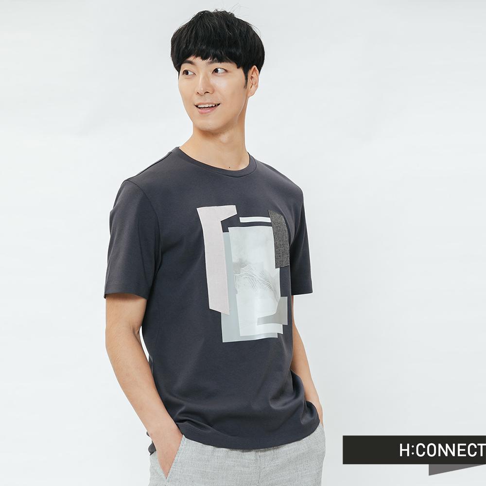 H:CONNECT 韓國品牌 男裝-幾何紋路圓領T-shirt-灰