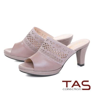 TAS鏤空雕花麂皮拼接魚口粗跟涼拖鞋-冬季灰