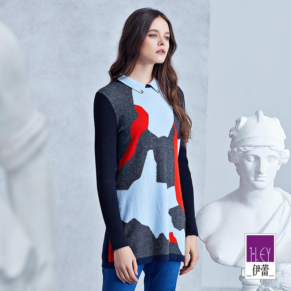 ILEY伊蕾 撞色幾何長版針織上衣(藍)