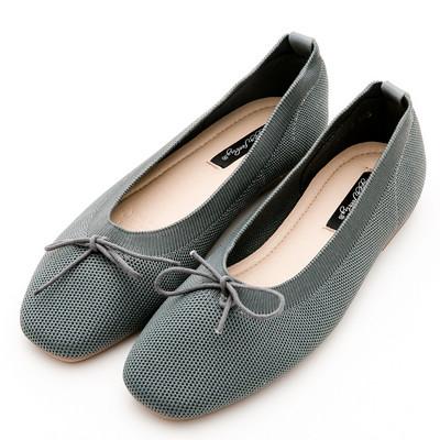 River&Moon韓版超軟飛織朵結娃娃鞋*灰藍