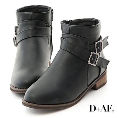 D+AF 百搭潮流.交叉釦帶軍風短靴*黑