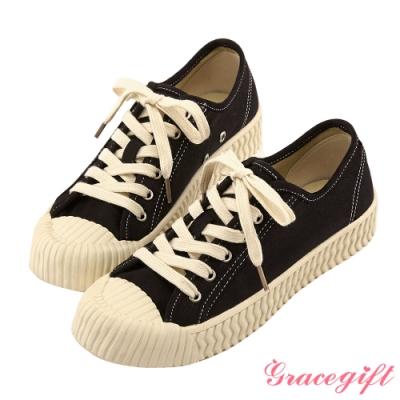 Grace gift-特殊波紋底綁帶休閒鞋 黑