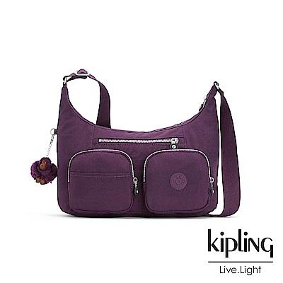 Kipling 斜背包 深紫素面 -中