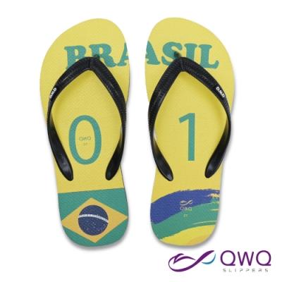 【QWQ】男款防滑夾腳人字拖鞋-海灘玩水-耐磨好穿-經典國家世足款-Brasil巴西-黑(AFWC10105)
