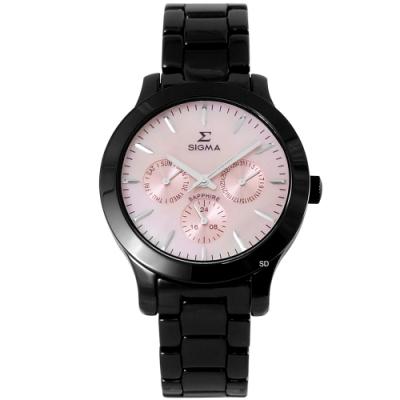 SIGMA 簡約時尚三眼陶瓷手錶-粉X黑/36mm