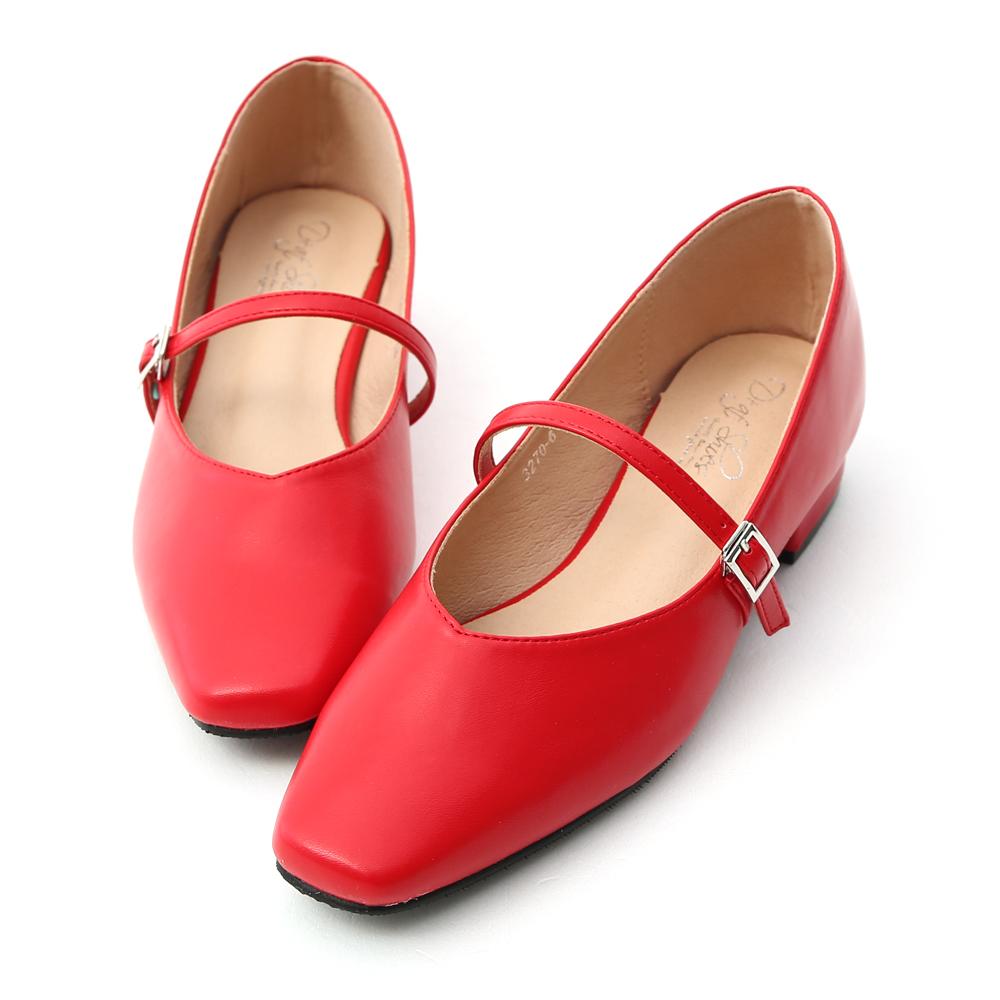 D+AF 好感女孩.素面方頭低跟瑪莉珍鞋*紅