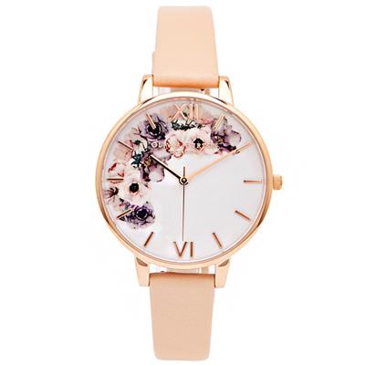 OLIVIA BURTON 華麗花香款皮革錶帶手錶-白面/38mm