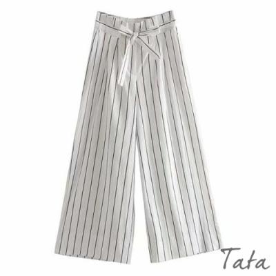 清新白綁帶條紋寬褲 TATA-(S~L)