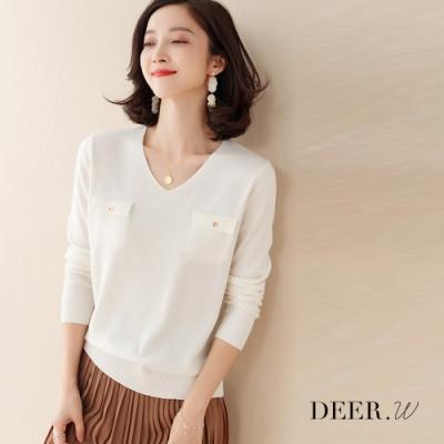 DEER.W V領假口袋羅紋針織上衣(白)
