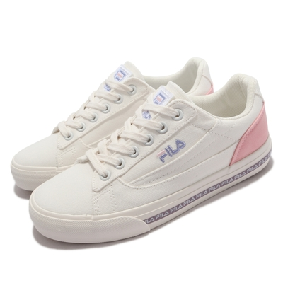 Fila 休閒鞋 Classic Kicks L 2 女鞋 斐樂 韓版 簡約帆布鞋 電繡Logo 緩震 白粉 5C932V195