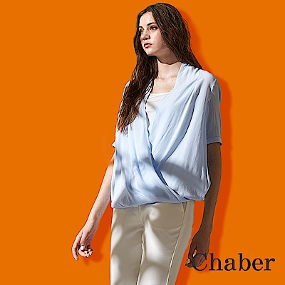 Chaber巧帛 氣質羅馬抓皺顯瘦V領微寬五分袖罩衫式造型雪紡上衣(兩色)-藍