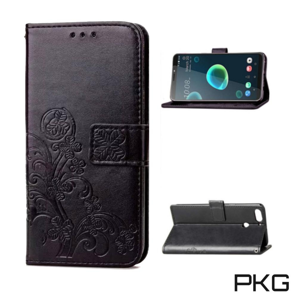 PKG HTC Desire12 Plus 側翻式皮套-精選皮套系列-幸運草-黑