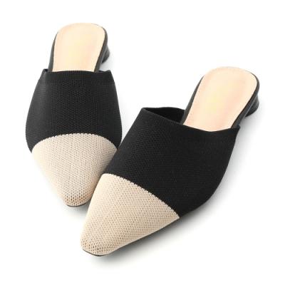D+AF 法式優雅.透氣針織料尖頭穆勒鞋*黑