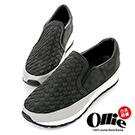 Ollie韓國空運-正韓製皮革編織休閒懶人增高鞋-黑