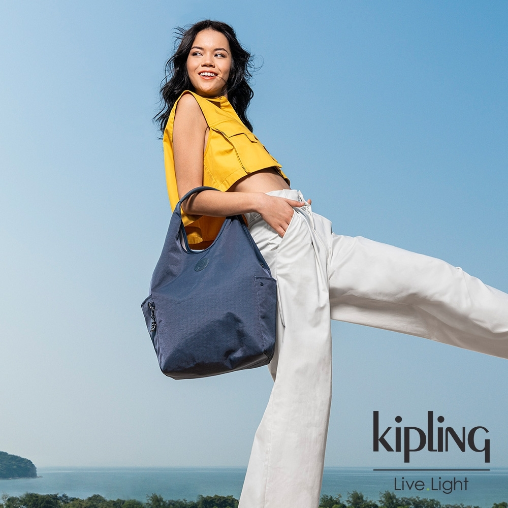 Kipling 質感都市藍灰色肩背側背包-URBANA