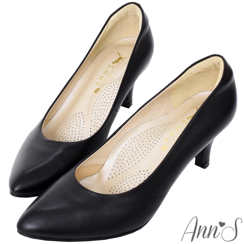 Ann'S完美比例六公分尖頭全真皮包鞋-黑