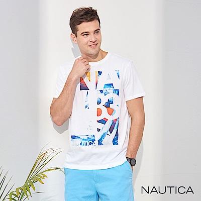 Nautica 夏日海洋圖騰短袖T恤-白
