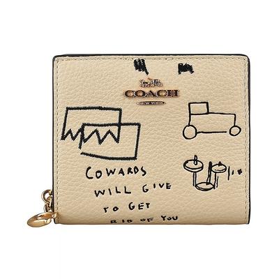 COACH X Jean-Michel Basquiat金字LOGO牛皮飾抽象圖案印花3卡扣式短夾(奶茶)