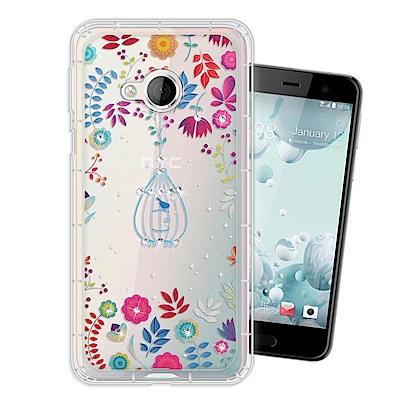 HTC U Play 奧地利水晶彩繪空壓手機殼(鳥羽花萃)