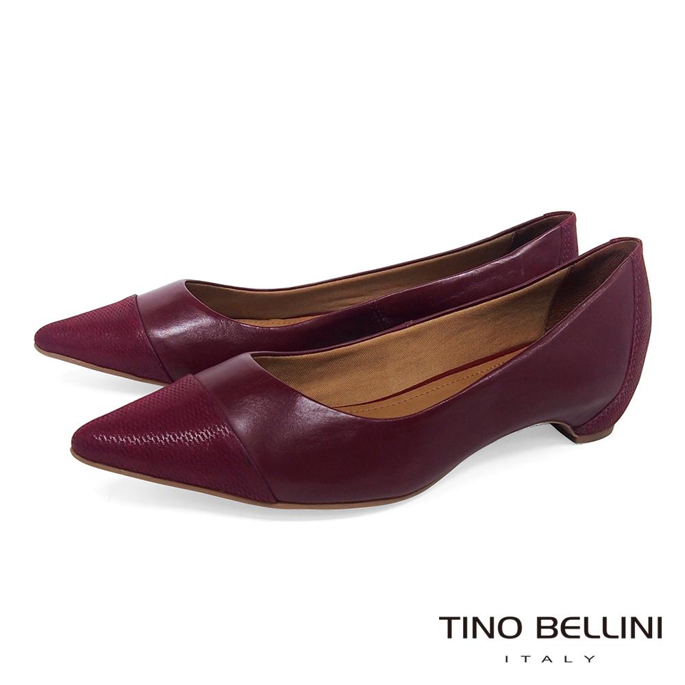 Tino Bellini 巴西進口知性品味舒足低跟鞋 _ 酒紅