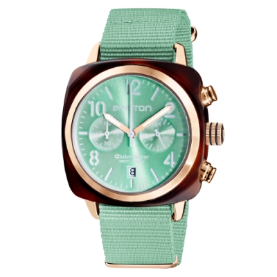 BRISTON CLUBMASTER 經典雙眼計時手錶-薄荷綠/40mm