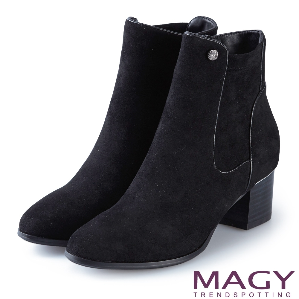 MAGY 俐落剪裁絨布粗跟 女 短靴 黑色 product image 1
