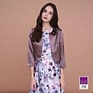 ILEY伊蕾 貴氣感手捏花緞面開襟外套(紫)