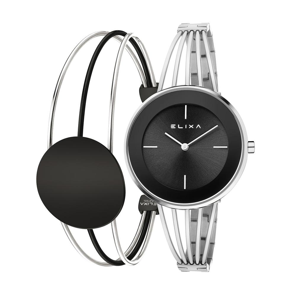 ELIXA Finesse精巧時間雙色系列手錶手環組合 黑x銀36mm