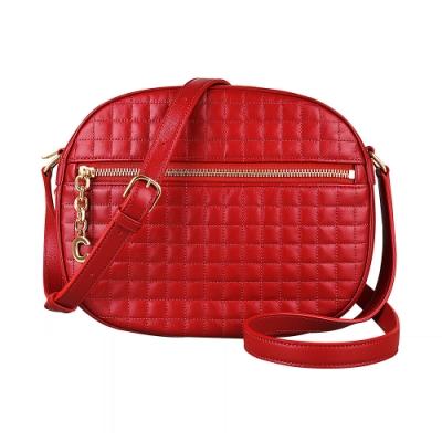 CELINE C Charms金屬LOGO壓印格紋設計小牛皮拉鍊斜背包(紅)
