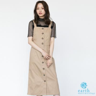 earth music 格紋/素面前排釦合身剪裁背心洋裝
