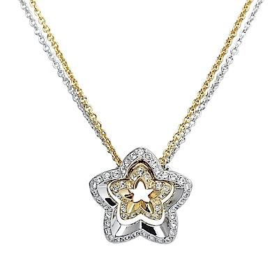 SWAROVSKI 施華洛世奇 LOVESOME璀璨水晶雙色花朵銀x金項鍊