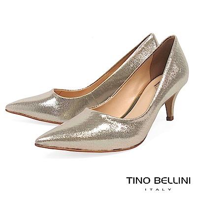 Tino Bellini 巴西進口質感耀眼低跟婚鞋 _金