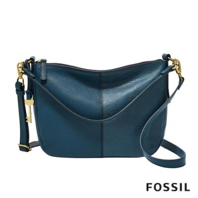 FOSSIL JOLIE 雙質感皮革肩揹/側揹包-藍色 ZB7949497