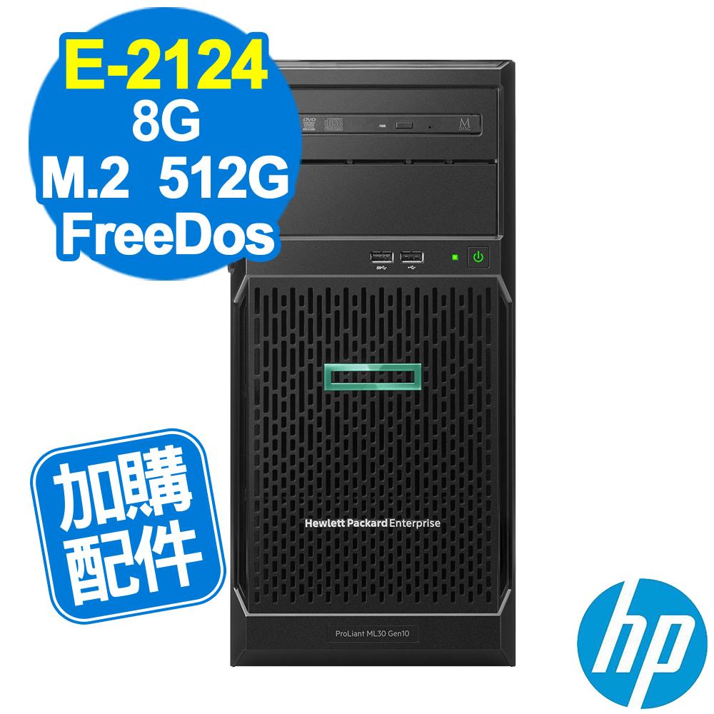 HP ML30 Gen10 E-2124/8G/660P 512G/FD
