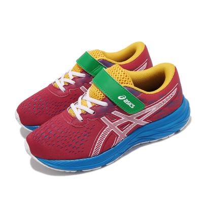 Asics 慢跑鞋 Pre Excite 7 PS 魔鬼氈 童鞋 亞瑟士 運動休閒 郊遊 踏青 中童 紅 藍 1014A101601