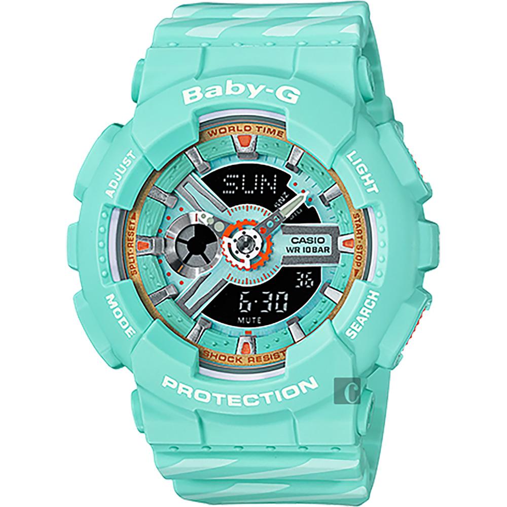 CASIO 卡西歐 Baby-G Chance 米蘭設計手錶-翡翠綠BA-110CH-3A