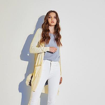 Chaber巧帛 時尚精緻滾邊設計好感棉長版造型針織外套-米