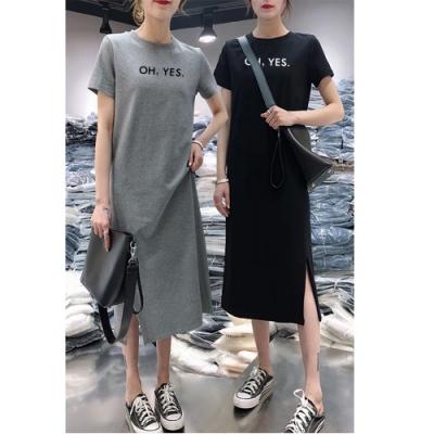 2F韓衣-簡約圓領英文印花開衩造型洋裝-2色(M-2XL)