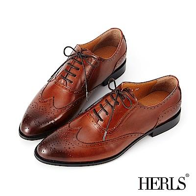 HERLS 時髦女紳 全真皮擦色雕花牛津鞋-棕色