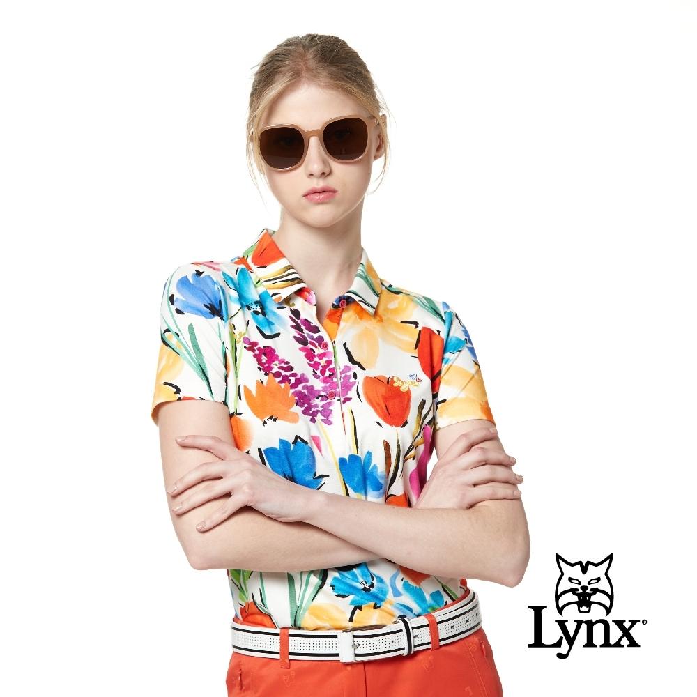 【Lynx Golf】女款歐洲進口布料滿版花卉印花短袖POLO衫-牙白色