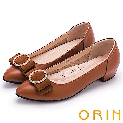 ORIN 氣質甜美風 璀璨圓環水鑽牛皮低跟鞋-棕色