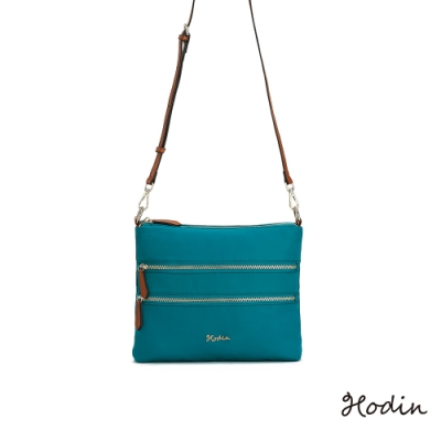 【Hodin】Feather多層拉鍊旅行小包(藍綠色153021GN)