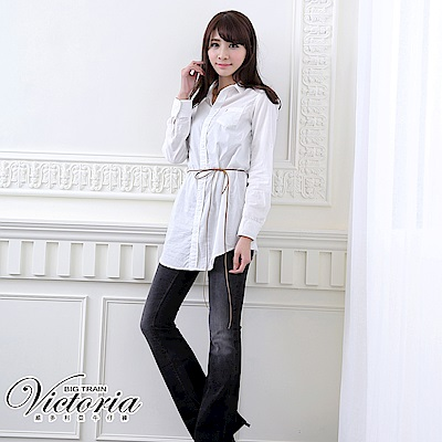 Victoria V字彩鑽中低腰靴型褲-女-黑