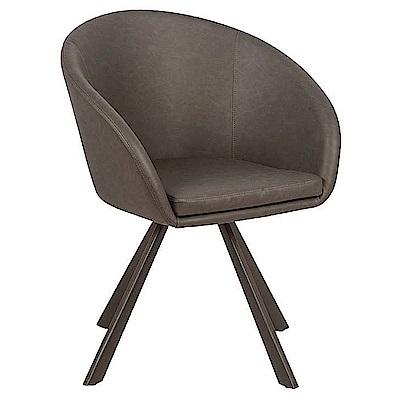 AS-賴爾鐵藝灰色皮旋轉餐椅-55x63x82cm