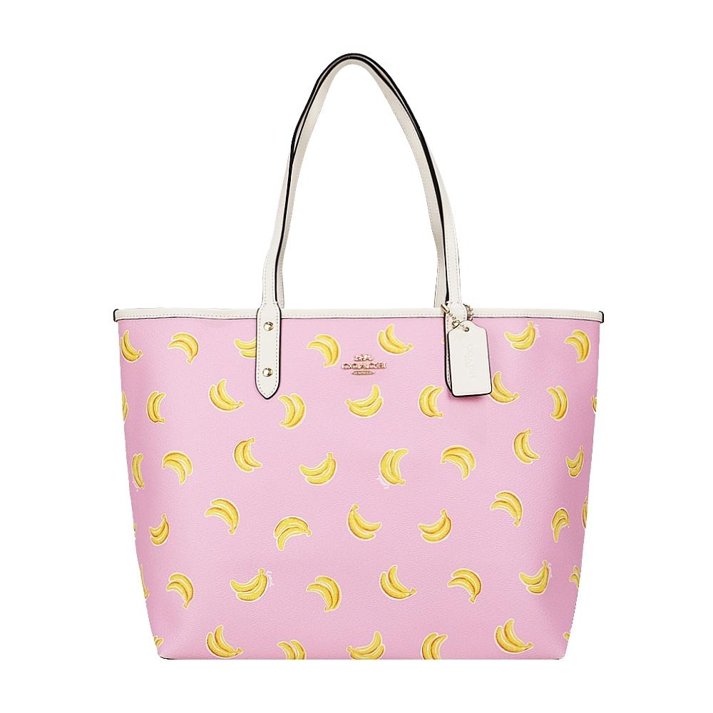 COACH 俏皮香蕉印花 PVC托特包(粉紅)