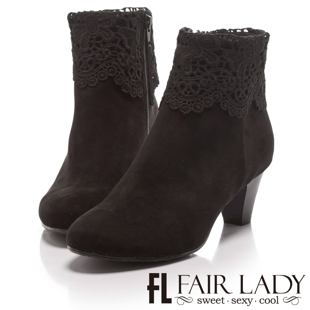 Fair Lady 蕾絲絨布粗跟短靴 黑