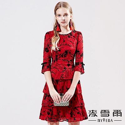 【麥雪爾】手工縫珠蕾絲蛋糕裙洋裝