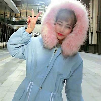 La Belleza大圈毛毛領連帽鋪棉厚棉收腰保暖長版外套