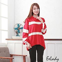 EELADY-寬版袖綁帶橫條毛衣-紅白