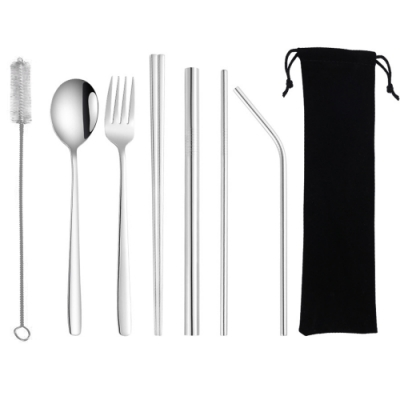 PUSH!餐具用品鍍鈦環保彩色304不鏽鋼勺子筷子套裝吸管8件套裝E135(一套組)